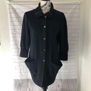St. John Sport black cardigan sweater coat santana